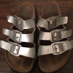 Silver three strap Birkenstock sandals